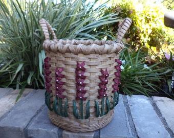 Texas Bluebonnet Mauve Utensil Basket Bluebonnet Basket Handwoven Basket