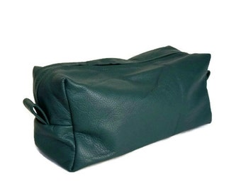 Green Leather Bag, Cosmetic Bags, Toiletry Bag, Travel Bag, Men Gift