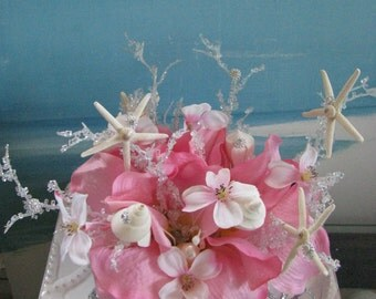 Tropical Pink Floral Seashell Starfish Wedding Cake Topper- Tropical Beach Wedding Cake Topper