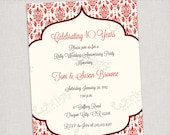 40th Ruby Anniversary Invitation - Printable Digital File or Printed Invitations with Envelopes - FREE SHIPPING
