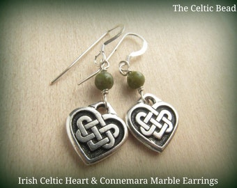 Irish Connemara Marble & Sterling Celtic Knot Heart Earrings