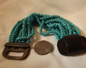 Bracelet Vintage Handmade Turquoise Ceramic Beads Stretch Cord Exotic Boho Chic Big Wide Runway