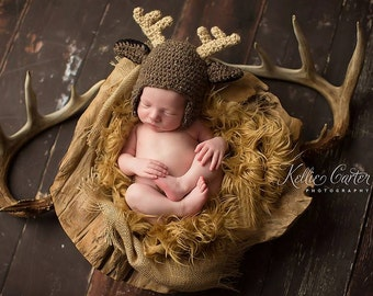 Deer Hat - Crochet Deer hat - Buck Hat - Newborn Boy Hat