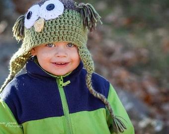 Boys Owl Hat - Newborn Boy Owl Hat - Toddler Boy Owl hat - Green Owl hat