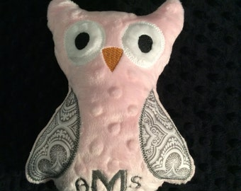 Pink and grey owl, personalized owl, plush owl