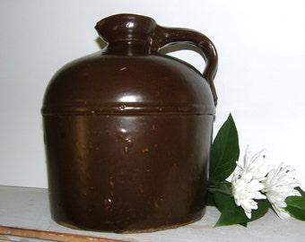 Antique Stoneware Moonshine Jug, Antique Earthenware Dark Brown Pottery