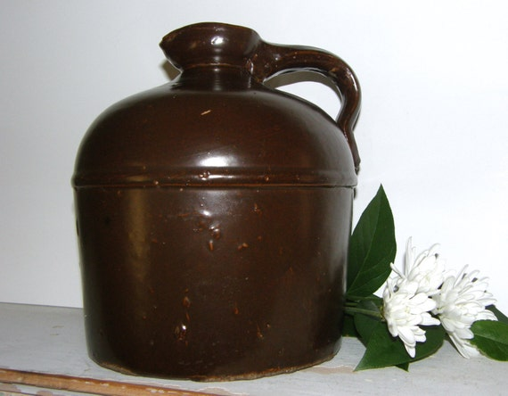 SALE! Antique Stoneware Moonshine Jug, Antique Earthenware Dark Brown Pottery