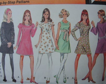 vintage 1960s McCalls sewing pattern 2146 mod dresses size 12