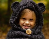 Animal Cowl, Hooded Cowl, Bear Hat, Bear Cowl, Hooded Bear Cowl, Bear Hood, Knitted Bear Cowl