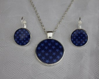 Midnight Blue Star Pendant and Lever Back Earring Set