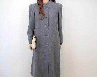 Vintage 80's Coat Large Grey Wool Coat Winter Coat Minimalist Jacket Minimalist Coat Puff Shoulders Long Coat Structured Coat Medium Large H
