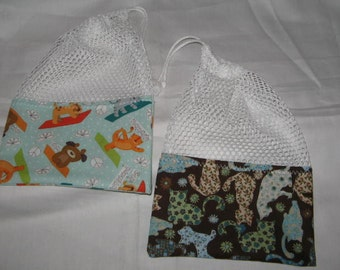 Kitty / Doggie Travel Treat Bags mesh drawstring bags