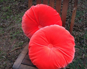 Tangerine Orange Velvet Round Pillow Set Round Velvet Cushion Set Pair Tufted Velvet Orange Pillows