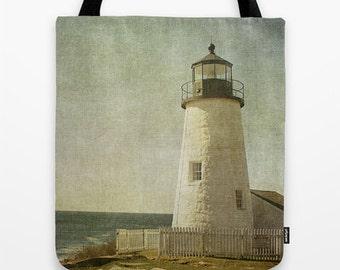 Pemaquid Lighthouse, Photo Tote, Tote Bag, Reusable Bag, Maine,