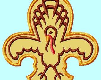 Fleur de Lis Turkey APPLIQUE Embroidery Designs 4 sizes INSTANT Download