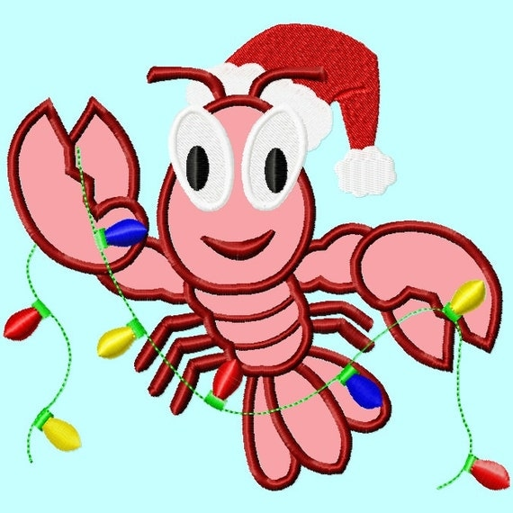 Crawfish Or Lobster Santa Hat And Christmas Lights APPLIQUE