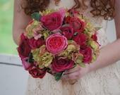 Silk bridal bouquet, pink roses, fuchsia roses, green hydrangeas, matching boutonniere
