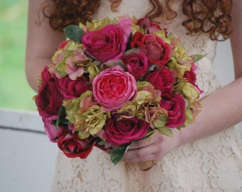 Silk bridal bouquet, pink roses, fuchsia roses, green hydrangeas, matching boutonniere