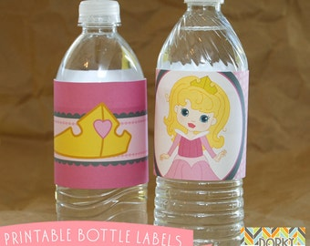 Sleeping Beauty Birthday Party Printable Bottle Labels PDF - Printable Party Supplies - Princess Party DIY