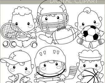 Sports Clipart -Personal and Limited Commercial Use- Basketball, Soccer, Football Baby Blackline Clipart