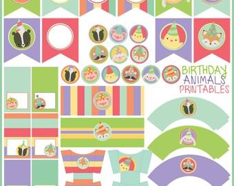 Animal Birthday Party Printables PDF - Printable Party Supplies - Cute Animals Birthday DIY