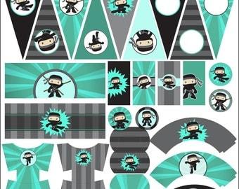 Ninja Birthday Party Printables PDF - Printable Party Supplies - Boy Ninjas Birthday DIY