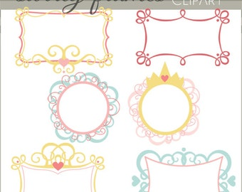 Swirly Frame Clip Art  -Personal and Limited Commercial Use- crown and swirls frame clipart