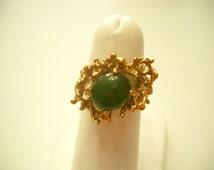 Vintage Gold Tone Twig Ring, Jade Cabochon (5678)18KT, HGE, Size 6 1/2