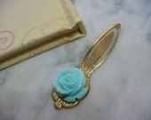 Blue Rose Bookmark, Antiqued Gold Tone Metal Bookmark with Blue Rose Cabochon, Vintage Style, Book Marker, Book Lover, Christmas Gift