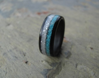 Ebony Bentwood Ring with Crushed Mother of Pearl and Crushed Turquoise Inlay Wedding Ring - Anniversary Ring