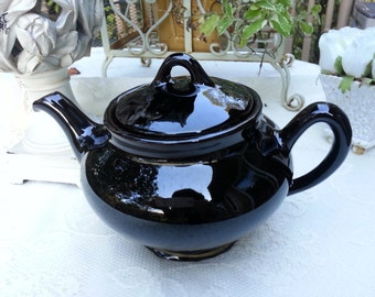 Black Redware Teapot, made in England, gold trim, Mid-Century Modern