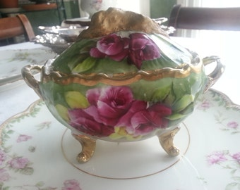 Gorgeous Antique German Hand Painted Sugar Bowl
