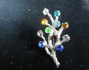 Van Dell Sterling Silver Brooch a Branch with Colorful Rhinestones