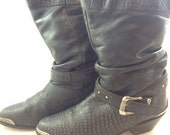 Size 10 slouch black cowboy boot western punk 1980's