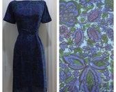 Sweet and Sexy Lightweight Fall Vintage 1950s Cocktail Dress / Blue Paisley Floral / Small