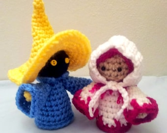 Crochet White Mage AND Black Mage Inspired Amigurumi Doll SET - Stuffed/Plush Collectable Toys