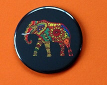 African Elephant Pocket Mirror / Fridge Magnet / Badge - Elephant gifts Tribal Patterns African gifts