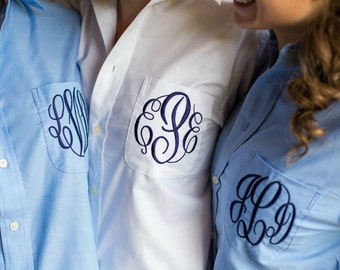 Wedding Day Shirt for Bridal Party  - choose from blue or white oxford shirt
