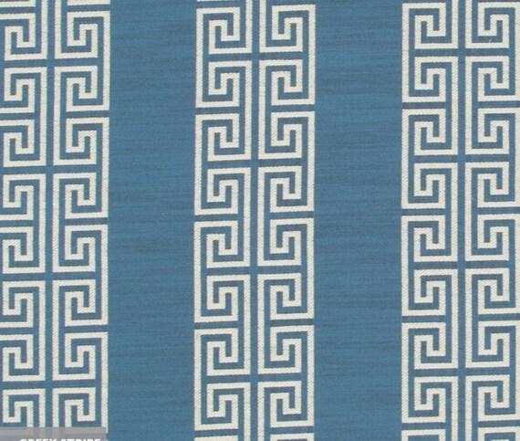 Blue Greek Key Upholstery Fabric Custom Blue Stripe Curtains