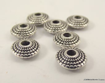 20 Geometric Saucer Beads, Pewter Rondelles, Pewter Beads, 8 mm x 3 mm
