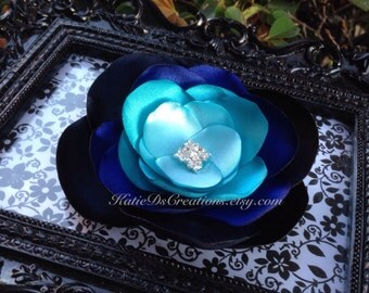 Blue Ombré Hair Flower / Navy, Royal, Turquoise and Aqua Brooch / Facinator
