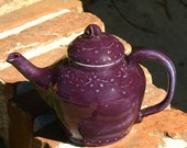Pansy Purple Teapot with slip trailing vine design and curly knob - Hand thrown, Stoneware Pottery - handmade ceramic teapot