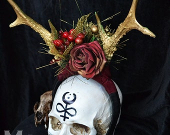 Animal-friendly Antlers headpiece with faux red roses and berries by Mortiis.M Vegan