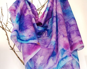 Silk scarf hand painted. winter leaves. Silk shawl . gift for her.70x200cm.