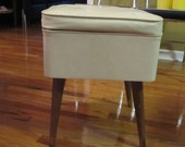 Vintage Mid Century White Singer Sewing Box, Atomic Storage Ottoman, Footstool with Tapered Legs