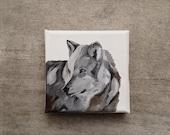 Print from my original acrylic painting.  Fine art print, reproduction.  Wolf. Modern art. Modern animal art. Gift.  Fall. Modern rustic.