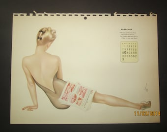 Vintage Calendar 1942 Vargas pin-up original (February calendar page)