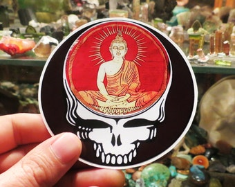 Steal Your Face / Enlightened Meditating Buddha / Grateful Dead / High Quality Vinyl / Sticker
