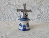 Delft Blue Windmill Pepper Shaker Vintage Kitchenware Collectible Cobalt Blue