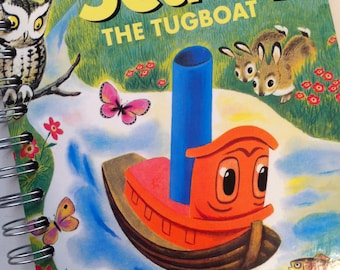 Scuffy the Tugboat Little Golden Book Recycled Journal Notebook